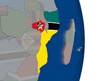 Mozambique with its flag. Map of Mozambique with its flag on globe. 3D illustration Royalty Free Stock Photography