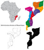 Mozambique map. Administrative division of the Republic of Mozambique Royalty Free Stock Image