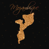 Mozambique map filled with golden glitter. Royalty Free Stock Image