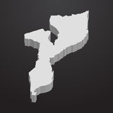Mozambique map in gray on a black background 3d Royalty Free Stock Photos