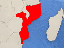 Mozambique on map. Mozambique in red on political map with watery oceans. 3D illustration stock illustration