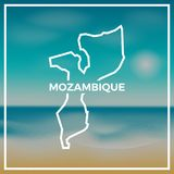 Mozambique map rough outline against the backdrop. Mozambique map rough outline against the backdrop of beach and tropical sea with bright sun Royalty Free Stock Photography