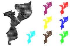 Mozambique map vector Stock Photography