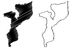 Mozambique map vector. Illustration, scribble sketch Republic of Mozambique Royalty Free Stock Image