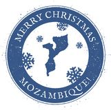 Mozambique map. Vintage Merry Christmas. Stock Images