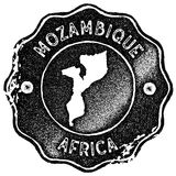 Mozambique map vintage stamp. Retro style handmade label, badge or element for travel souvenirs. Black rubber stamp with country map silhouette. Vector Royalty Free Stock Photos