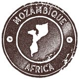 Mozambique map vintage stamp. Retro style handmade label, badge or element for travel souvenirs. Brown rubber stamp with country map silhouette. Vector Stock Images