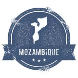 Mozambique mark. Travel rubber stamp with the name and map of Mozambique, vector illustration. Can be used as insignia, logotype, label, sticker or badge of Stock Photography