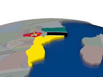 Mozambique met vlag Royalty-vrije Stock Foto