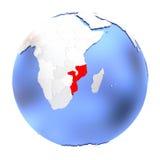 Mozambique on metallic globe  Stock Photography
