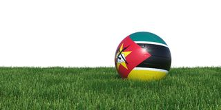 Mozambique Mozambican flag soccer ball lying in grass. Isolated on white background. 3D Rendering, Illustration Stock Photos