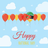 Mozambique National Day Flat Patriotic Poster. Row of Balloons in Colors of the Mozambican flag. Happy National Day Card with Flags, Balloons, Clouds and Sky Stock Image