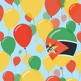 Mozambique National Day Flat Seamless Pattern. Flying Celebration Balloons in Colors of Mozambican Flag. Happy Independence Day Background with Flags and Stock Photo