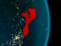 Mozambique at night. Illustration of Mozambique as seen from Earth's orbit at night. 3D illustration. Elements of this image furnished by NASA Stock Photography