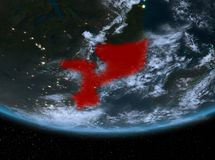 Mozambique at night. Highlighted in red on planet Earth with clouds. 3D illustration. Elements of this image furnished by NASA Stock Images