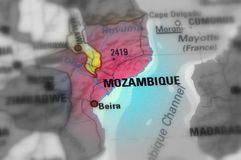 Republic of Mozambique. Mozambique, officially the Republic of Mozambique black and white selective focus Royalty Free Stock Images