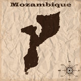 Mozambique old map with grunge and crumpled paper. Vector illustration Royalty Free Stock Image