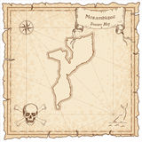 Mozambique old pirate map. Sepia engraved template of treasure map. Stylized pirate map on vintage paper Stock Image