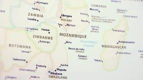 Mozambique op een Kaart stock footage