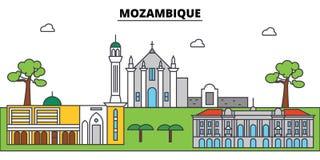 Mozambique outline city skyline, linear illustration, banner, travel landmark  Stock Image