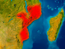 Mozambique on physical map Stock Image