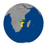 Mozambique on political globe Stock Photos