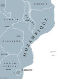 Mozambique political map. With capital Maputo. Republic and country in Southeast Africa bordered by the Indian Ocean. Gray illustration isolated on white Royalty Free Stock Photo