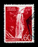 Mozambique postage stamp shows Waterfalls in Nhanghangare, Landscapes serie, circa 1948 Royalty Free Stock Photos