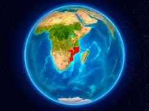 Mozambique on Earth. Mozambique in red from Earth's orbit. 3D illustration. Elements of this image furnished by NASA Royalty Free Stock Photo