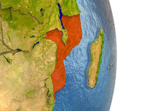 Mozambique in red on Earth Stock Images