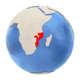 Mozambique in red on full globe isolated on white Royalty Free Stock Photography