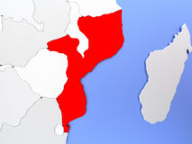 Mozambique in red on map Royalty Free Stock Images