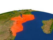 Mozambique in red from orbit Stock Photography