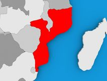 Map of Mozambique. Mozambique in red on political map. 3D illustration Stock Images