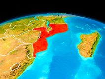 Mozambique in red. Satellite view of Mozambique highlighted in red on planet Earth with borderlines. 3D illustration Stock Photography
