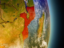 Mozambique in red from space Stock Images