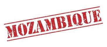 Mozambique stamp. Mozambique red  stamp Stock Images