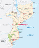 Mozambique road map. Mozambique road and national park map Stock Photos