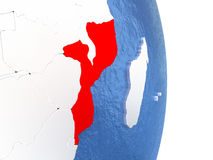Mozambique on shiny globe with water Stock Image