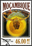 MOZAMBIQUE - 2013: shows The Ascension, 1958, by Salvador Dali 1904-1989. MOZAMBIQUE - CIRCA 2013: A stamp printed by Mozambique shows The Ascension, 1958, by Stock Images