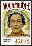 MOZAMBIQUE - 2013: shows Salvador Dali 1904-1989, painter. MOZAMBIQUE - CIRCA 2013: A stamp printed by Mozambique shows Salvador Dali 1904-1989, painter, circa Royalty Free Stock Photos