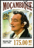 MOZAMBIQUE - 2013: shows Salvador Dali 1904-1989, painter. MOZAMBIQUE - CIRCA 2013: A stamp printed by Mozambique shows Salvador Dali 1904-1989, painter, circa Stock Image