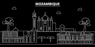 Mozambique silhouette skyline, vector city, mozambican linear architecture, buildings. Mozambique travel illustration. Mozambique silhouette skyline, vector Stock Photo