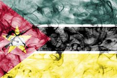 Mozambique smoke flag isolated on a white background. Mozambique smoke flag isolated on a white background Royalty Free Stock Photos