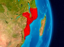 Mozambique from space. Country of Mozambique in red on planet Earth. 3D illustration. Elements of this image furnished by NASA Stock Photography