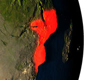 Mozambique from space during dusk Stock Photography