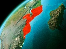 Mozambique from space in evening. Evening over Mozambique as seen from space on planet Earth. 3D illustration. Elements of this image furnished by NASA Stock Image