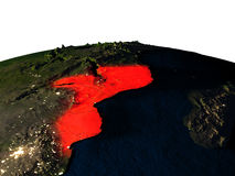 Mozambique from space at night Royalty Free Stock Photography