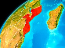 Mozambique from space. Orbit view of Mozambique highlighted in red with visible borderlines on planet Earth. 3D illustration. Elements of this image furnished by Stock Images