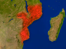 Mozambique from space in red Stock Images